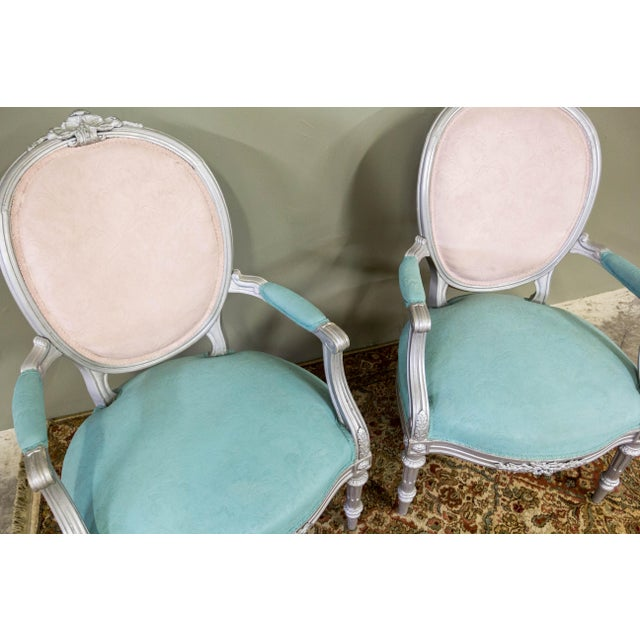 Artist Repainted Pastel Fauteuil Chairs- A Pair - Image 4 of 7