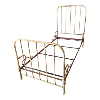 French Vintage 1930's Solid Brass Bed