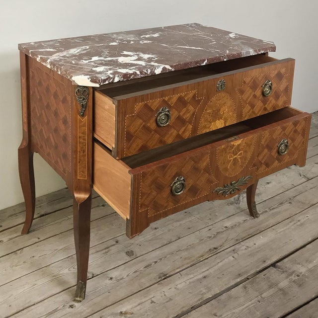 Antique French Louis XVI Marquetry Marble Top Commode For Sale - Image 12 of 13