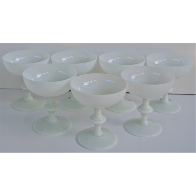 White 1970s Portieux Vallerysthal French Ivory Opaline Champagne Coupes - Set of 7 For Sale - Image 8 of 9