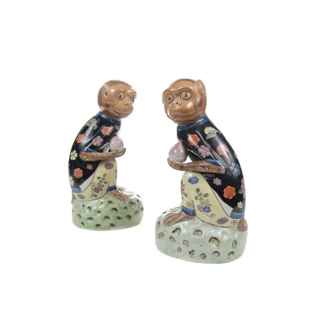 Antique Chinese Painted Porcelain Monkeys -A Pair - Image 1 of 9