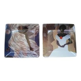 Obras De Casa Jorge Severino Defiant Dominican Women Collectible Plates - a Pair For Sale