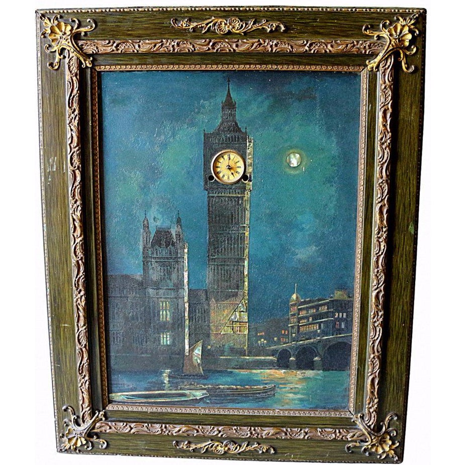 Antique Big Ben Oil Painting With Real Clock Chairish
