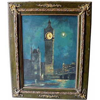 Antique Big Ben Oil Painting With Real Clock For Sale