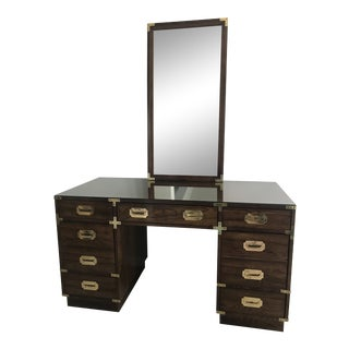 1960s Campaign Bernhardt Partner's Desk and Mirror - 2 Pieces For Sale
