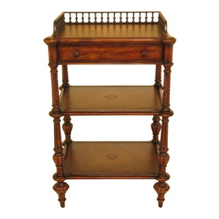 Traditional Theodore Alexander Leather Top 1 Drawer Tiered Stand For Sale