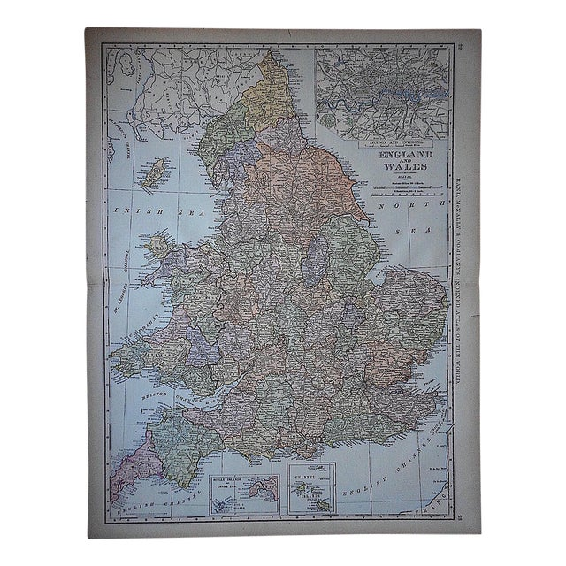 """Antique Map - England & Wales-27.5""""x21.25"""" - Image 1 of 4"""