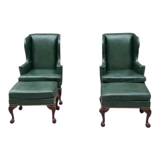 Hancock & Moore Chippendale Wingback Chairs and Ottomans in Green Leather - 4 Piece Set For Sale