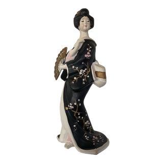 Japanese Female in Kimono With Fan Ceramic Figurine For Sale