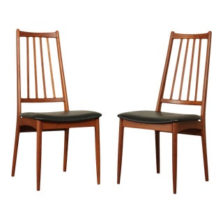 Danish Modern Mid Century Pair Teak Side Dining Chairs For Sale
