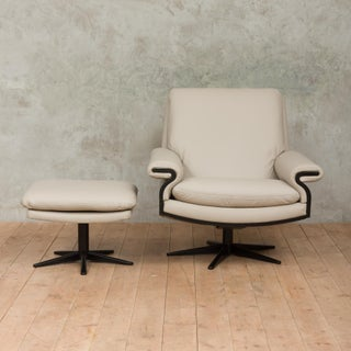 Mid-Century Modern Leather Swivel Lounge Chair With a Footstool - a Pair Preview