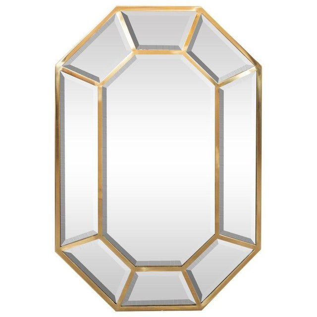 Brass Mid-Century Modern Segmented Octagonal Polished Brass Mirror For Sale - Image 7 of 7