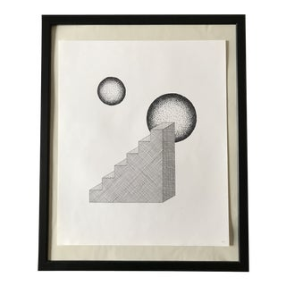 Stairs and Circles Hand Drawn Ink Illustration For Sale
