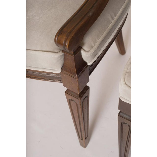 Louis XVI Gray Velvet Dining Chairs - Set of 8 - Image 9 of 9