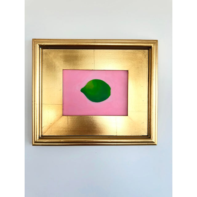 Contemporary Lime on Pink Still Life Framed Painting For Sale In Boston - Image 6 of 6