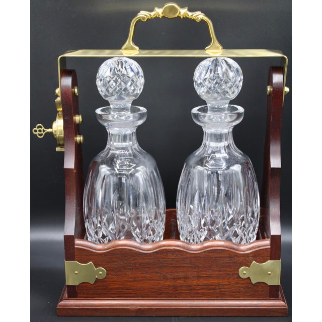 Transparent Large Irish Crystal Decanters in Walnut Tantalus by John Connolly of Waterford For Sale - Image 8 of 9