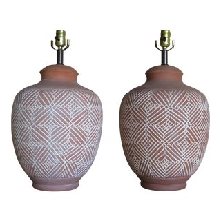 Vintage Raw Terra Cotta Navajo Style Incised Pottery Vase Whitewashed Lamps- a Pair