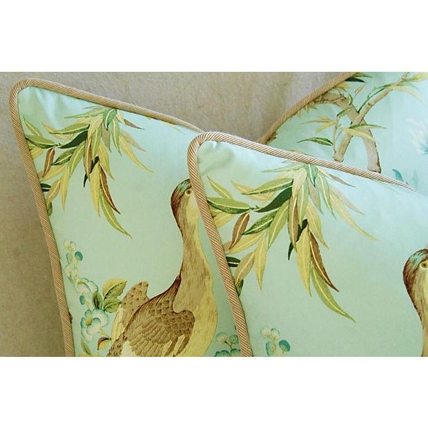 Tropical Egret & Floral Pillows - Pair - Image 5 of 8