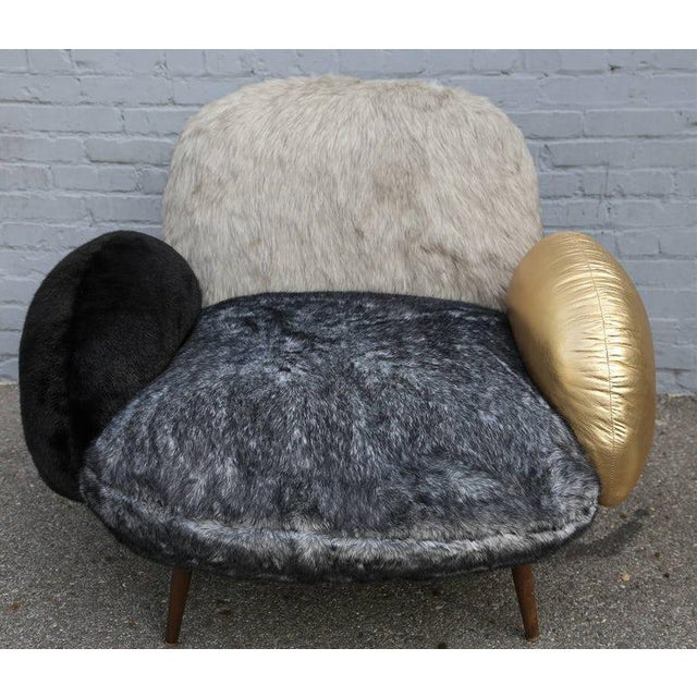 Faux Fur and Leather Lounge Chair For Sale In Los Angeles - Image 6 of 9