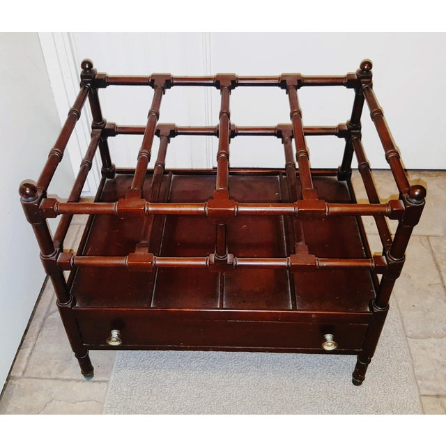 Thomas Chippendale 1920s Vintage Chippendale Style Mahogany Canterbury Magazine Rack For Sale - Image 4 of 6