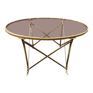 Neoclassical Style Gilt Metal & Glass Coffee Table