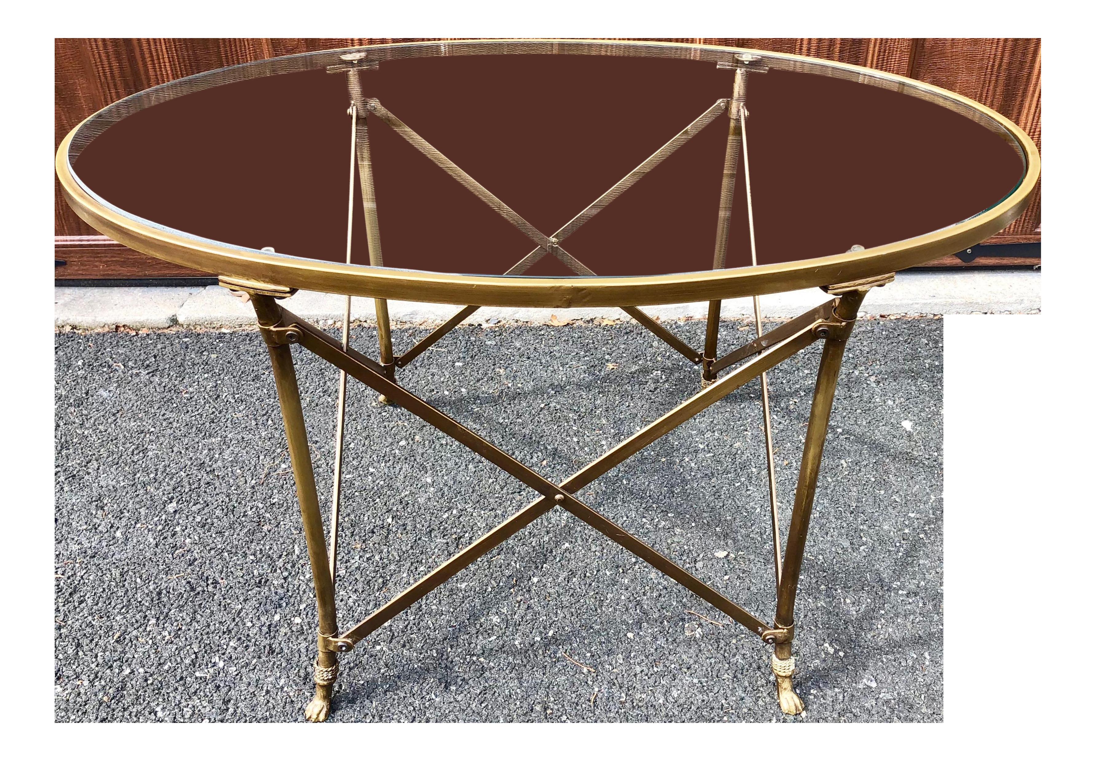 Neoclassical Style Gilt Metal U0026 Glass Coffee Table