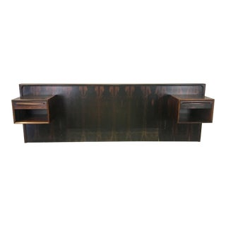 Danish Modern Rosewood Queen Headboard With Floating Nightstands For Sale