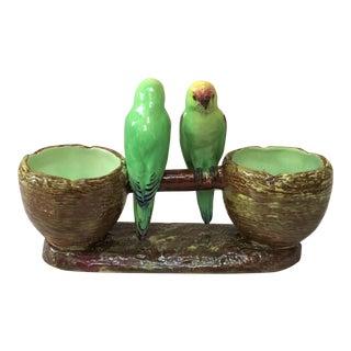 1900 Jerome Massier Fils Majolica Lovebirds Parakeets Double Vase For Sale
