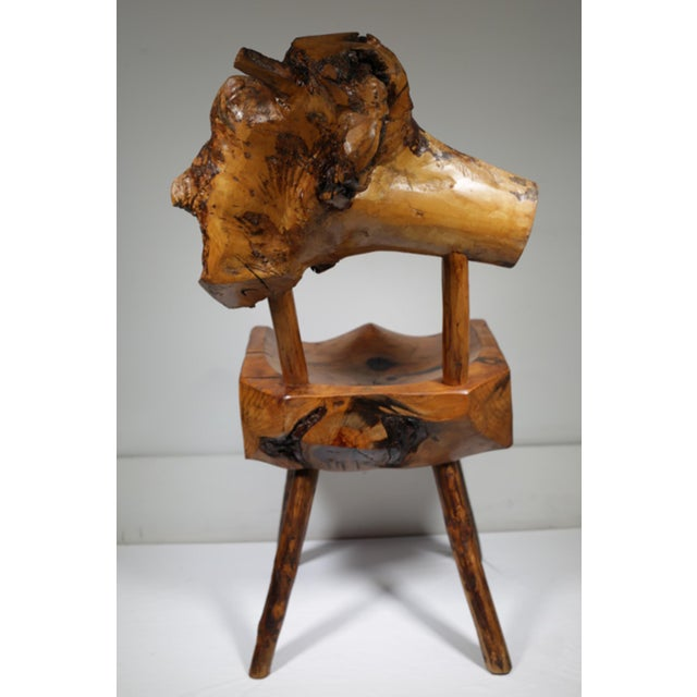 Early 20th Century Rustic Live Edge Hickory and Buckthorn Side Chair circa 1930s - Image 4 of 5