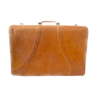 Vintage Caramel Cowhide Leather Valise For Sale