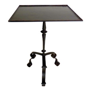 Square Steampunk Iron and Bronze Side Table For Sale