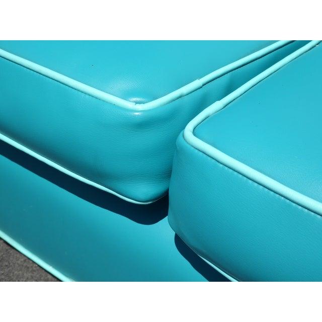 Mid-Century Turquoise Vinyl Sofa - Image 10 of 11