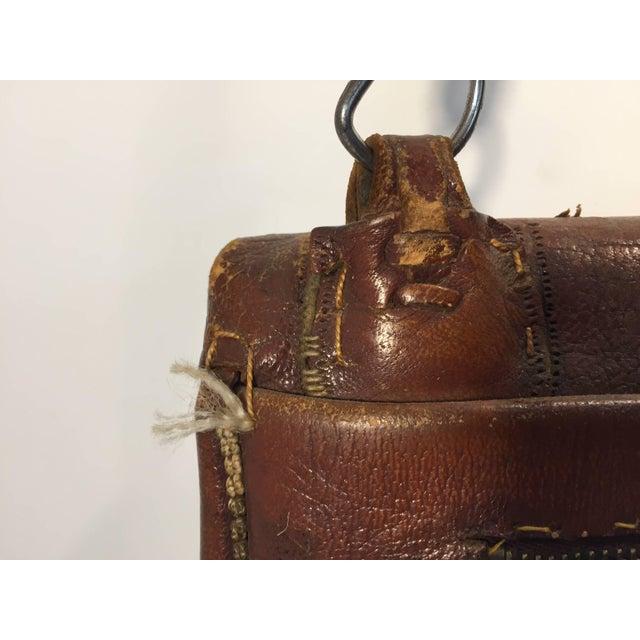 Leather Moroccan Berber Tribal Hand Tooled Leather Shoulder Bag For Sale - Image 7 of 9