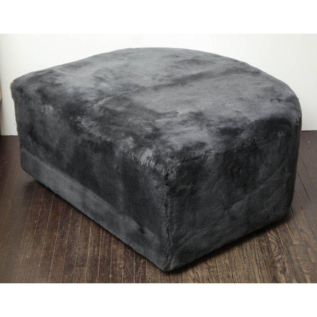 Modern Custom Genuine Shearling Ottoman For Sale - Image 3 of 6