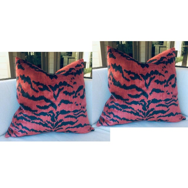 """Scalamandre Contemporary Scalamandre """"Le Tigre"""" Pillows in Red and Black - a Pair For Sale - Image 4 of 4"""