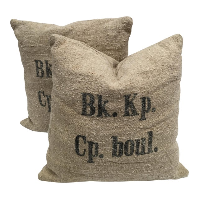 Custom Swiss 1943 Grain Sack Pillows -- a Pair For Sale