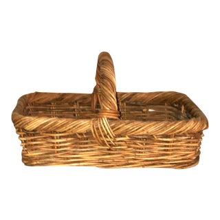Vintage Woven Wicker Handled Basket For Sale