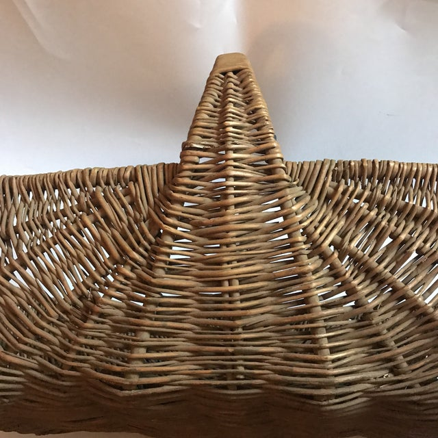 Wood Mid 19th Century Antique Willow Reed Buttocks Basket For Sale - Image 7 of 9