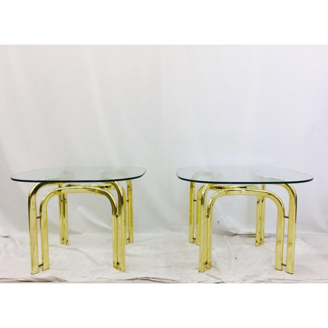 Pair Vintage Mid Century Modern Milo Baughman Style Brass & Glass Top Side Tables. One glass top shows wear at edge - see...