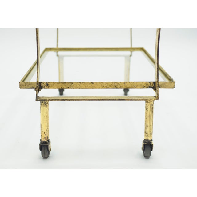 French Neoclassical Maison Ramsay Gilded Iron Bar Cart 1940s For Sale - Image 10 of 12