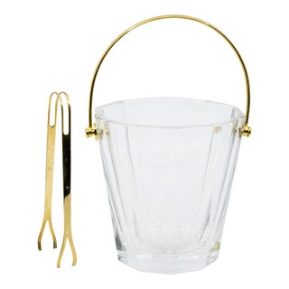 1960's Baccarat Mini Crystal and Brass Ice Bucket