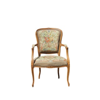 1940s French Style Needlepoint Carved Armchair For Sale