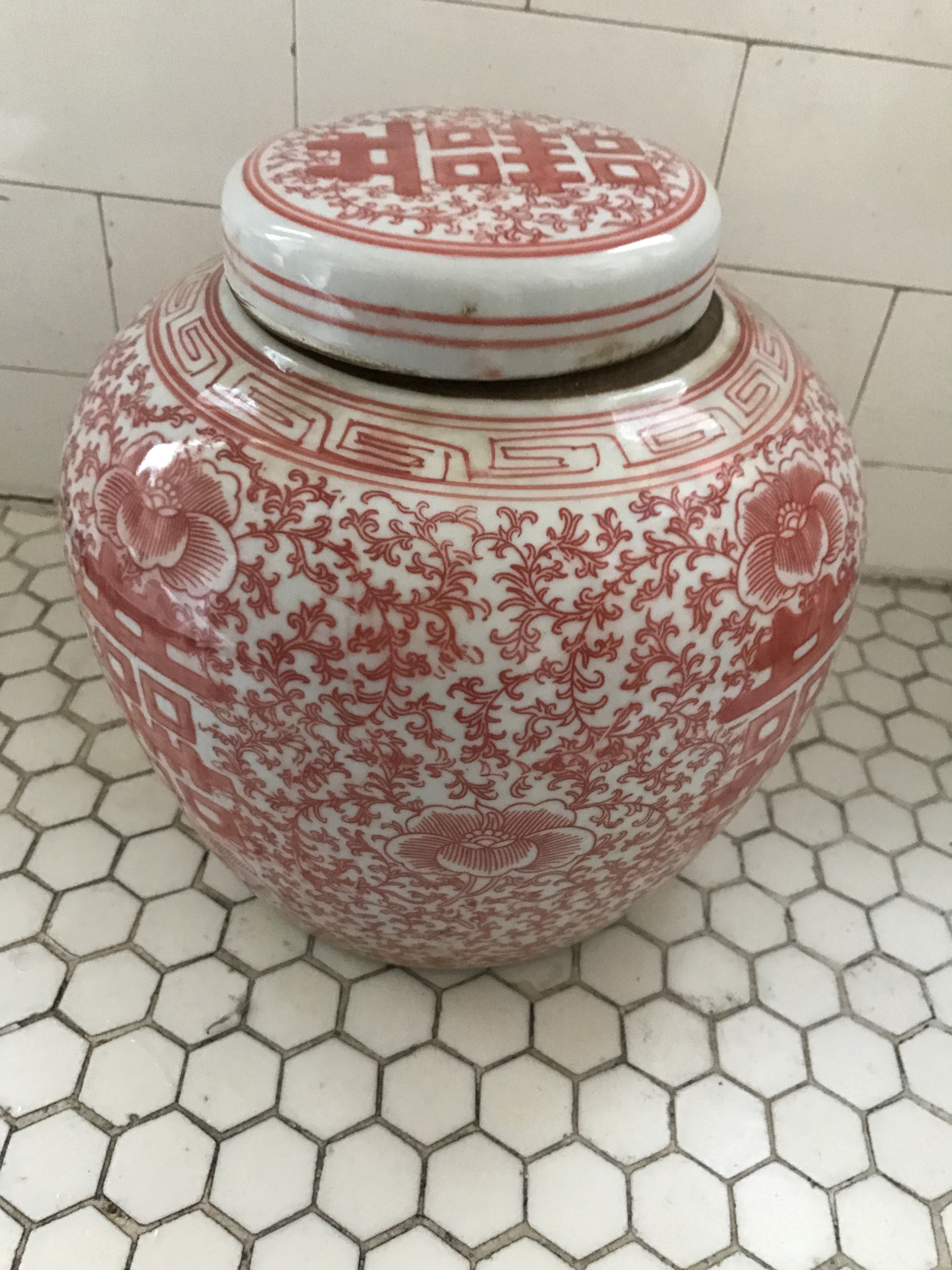 Chinoiserie Coral Amp White Porcelain Ginger Jar Chairish