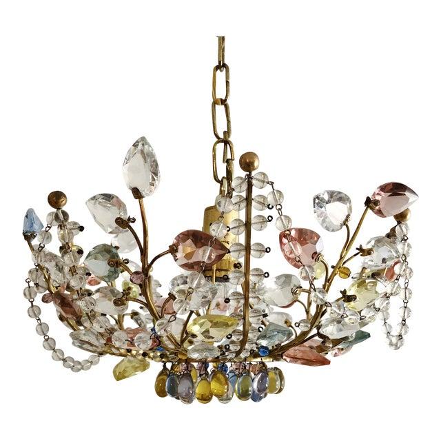 Antique Maison Bagues Style Multi Color Austrian Crystal Ceiling Pendant Chandelier on Brass Frame For Sale