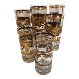 Mid-Century Modern Culver 22k Wheat Cocktail Glasses - Set of 6