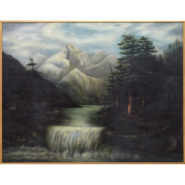 Wonderful large framed oil painting on canvas, featuring waterfalls in a mountain landscape. Perfect for any mountain...