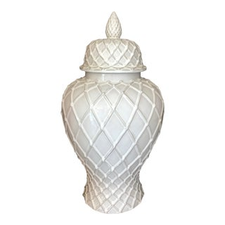 Exquisite White Ceramic Lidded Urn Vase With Lattice Design, Italy For Sale