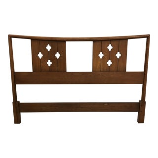 Mid-Century Clover Carved Headboard