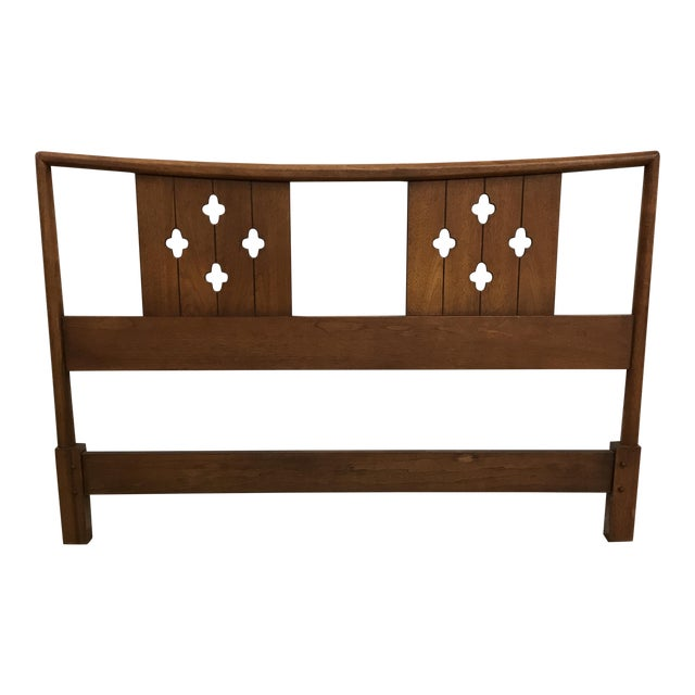Mid-Century Clover Carved Headboard - Image 1 of 9
