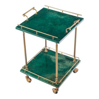 Aldo Tura Green Goatskin Bar Cart For Sale